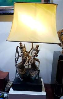 Vintage Indonesian Unique Wood Craving  Table Lamp