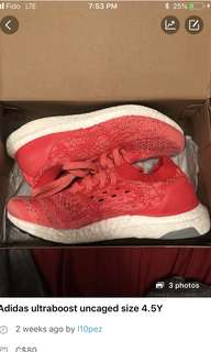 Adidas ultraboost uncaged size 4.5Y