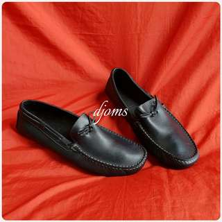 ✔SZ 8.5 DUNHILL MENS BLACK LEATHER LOAFERS DRIVING SHOES