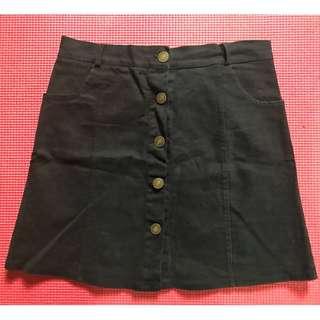 女生短裙 單排釦 A字裙黑色 二手