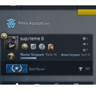 CSGO Prime Account - Gold Nova 1 (GN1)