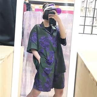 🚚 兩件式中性套裝滿版花朵短袖襯衫+短褲/透色造型遮陽帽