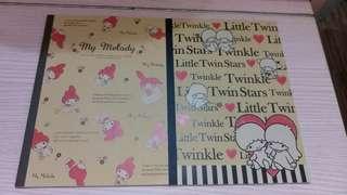 Melody & little twin stars單行簿 $10/2本