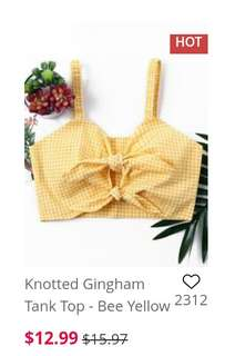 Knotted Gingham Top Tank