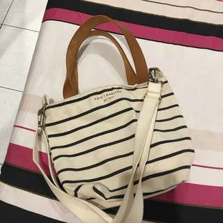 chic and darling stripe small canvas sling bag