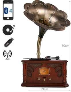 Vintage gramophone usb bluetooth radio turntable