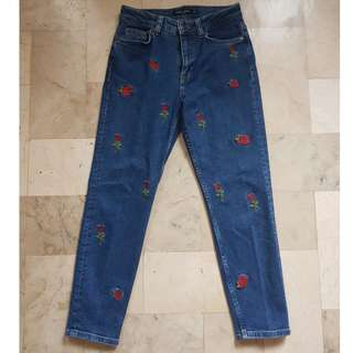 Bershka rose embroidered jeans