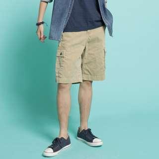 約34腰 Edwin 淺卡其 多口袋 工裝工作 休閒短褲  L號 二手 美式 愛德恩
