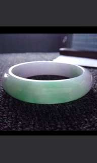 🌸(58mm) Grade A 冰糯 Lavender Green Jadeite Jade Bangle🍀