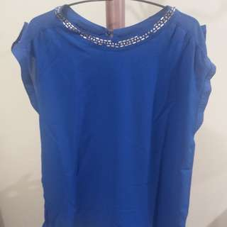 Blue Blouse with Gold Bead Lining