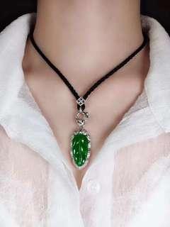GZ-36【綠葉子吊墜】特價:¥13800 種好通透,玉質細膩,完美無瑕,18K金奢華鑽石鑲嵌性價比超讚,送權威證書,支持複檢!