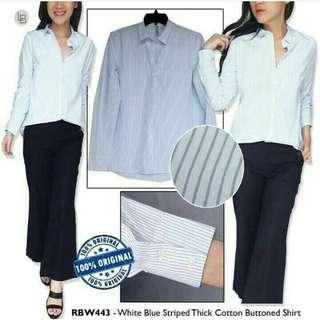 RAINBOW White Blue Stripped Cotton Shirt