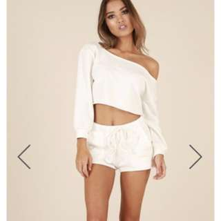 White Cropped Off The Shoulder Sweater