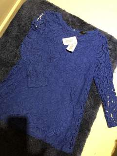 🚚 寶藍氣質蕾絲上衣