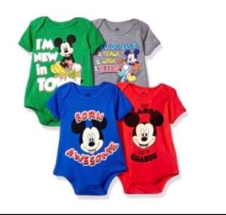 🚚 *9M* BN Disney Short Sleeve Bodysuits For Baby Boy