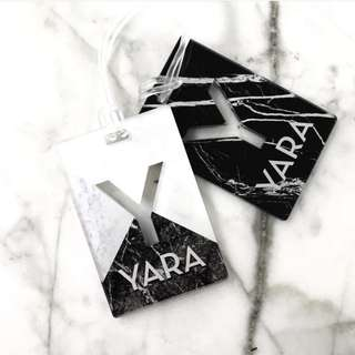CUSTOM MARBLE BAG TAG BLACK WHITE