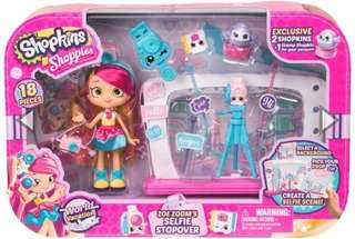 Brand NEW Shopkins Shoppies World Vacation Zoe Zoom' s Selfie Stopover Set