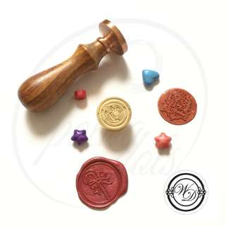 WD initials wax stamp