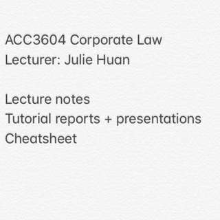 ACC3604 Corporate Law