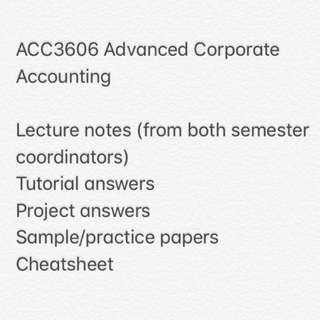 ACC3606 Advanced Corporate Accounting