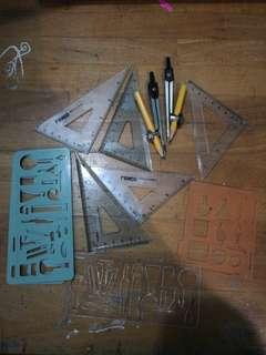 Campus, Set Squares, Chemistry Symbols Stencils
