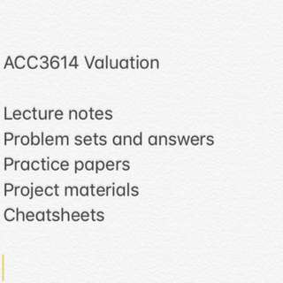ACC3614 Valuation