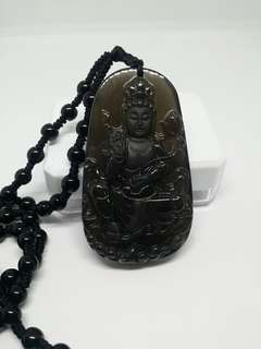 Fengshui Natural Black Obsidian Guan Yin Pendant / Amulet / Necklace 全天然观音冰种黑曜石,