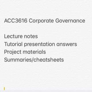 ACC3616 Corporate Governance and Risk Management