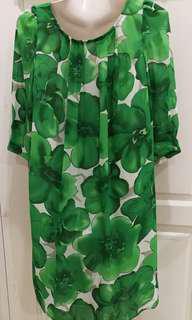 L Green Floral Dress