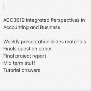 ACC3619 Integrated Perspectives in Accounting and Business