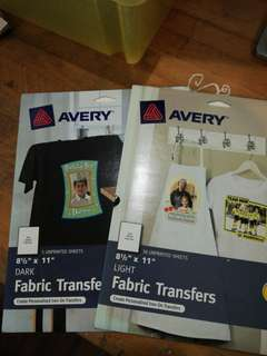 Avery Dark and Light Fabric Transfers
