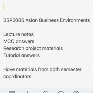 BSP2005 Asian Business Environments