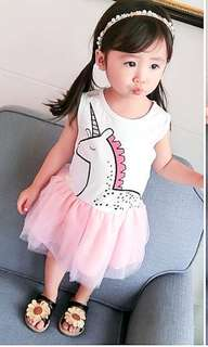 PO unicorn dress set brand new size 80-120(1-6yrs old )