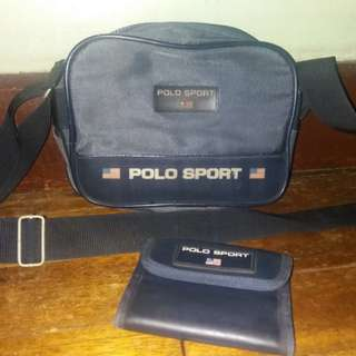 💯sold as set Original Ralph lauren rl polo sport sling bag and wallet bundle