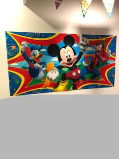 Mickey Mouse Birthday Party Decoration Set (Backdrop, Table cover, flag banner)