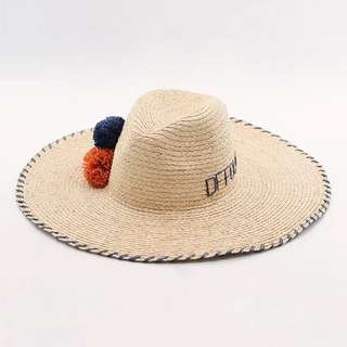 🚚 刺繡彩球草帽
