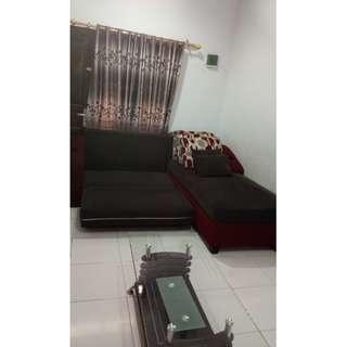 Sofa bed + meja kaca