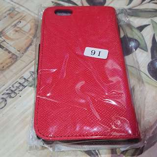 Red and Black iPhone 6 flip case with 3 card holders