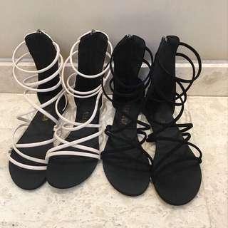🚚 【貝莉潮流】(關注+愛心送贈品)羅馬涼鞋❤️韓版新品時尚羅馬交叉綁帶設計感中筒涼鞋