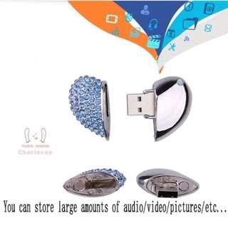 1TB Pen Drive Crystal Heart Memory Stick