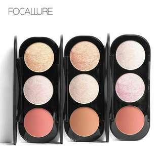 ORI Focallure 3 warna highlight powder blush plate