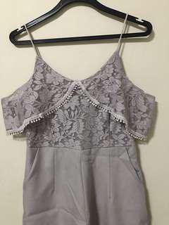 Grey laced cold shoulder romper