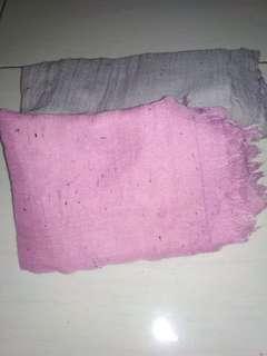 Pasmina pink & abu abu
