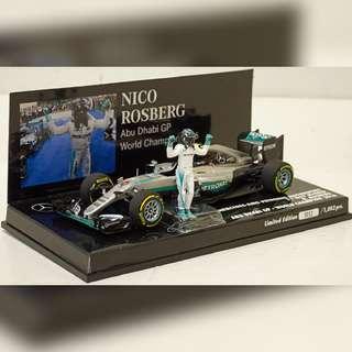 Minichamps 1/43 Mercedes AMG Nico Rosberg Abu Dhabi GP 2016 World Champion
