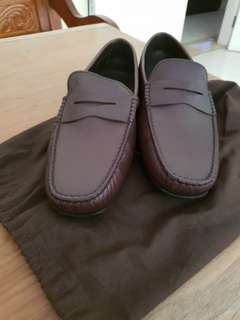 Tods mens brown saffiano loafers leather NEW!!!