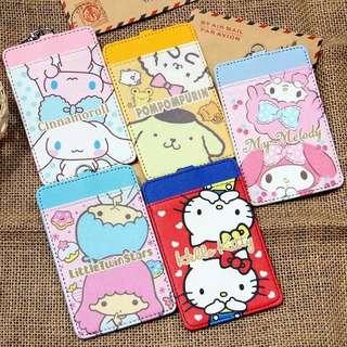 Kawaii Pudding Dog Hello Kitty My Melody PU Cartoon Credit Card Holder Key Chain Bus Card Case Bag Kids Girls Birthday Gifts