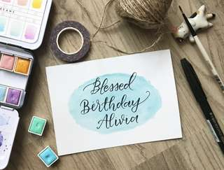 Birthday calligraphy watercolor card