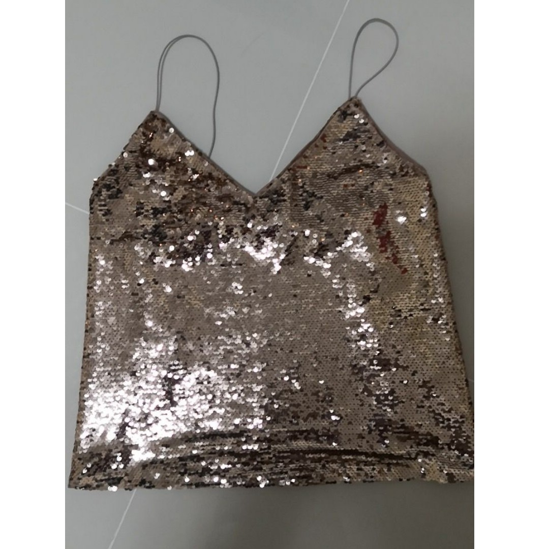 0b3ec7cc113e6 ASOS Sequin Cami with V neck (rose gold)