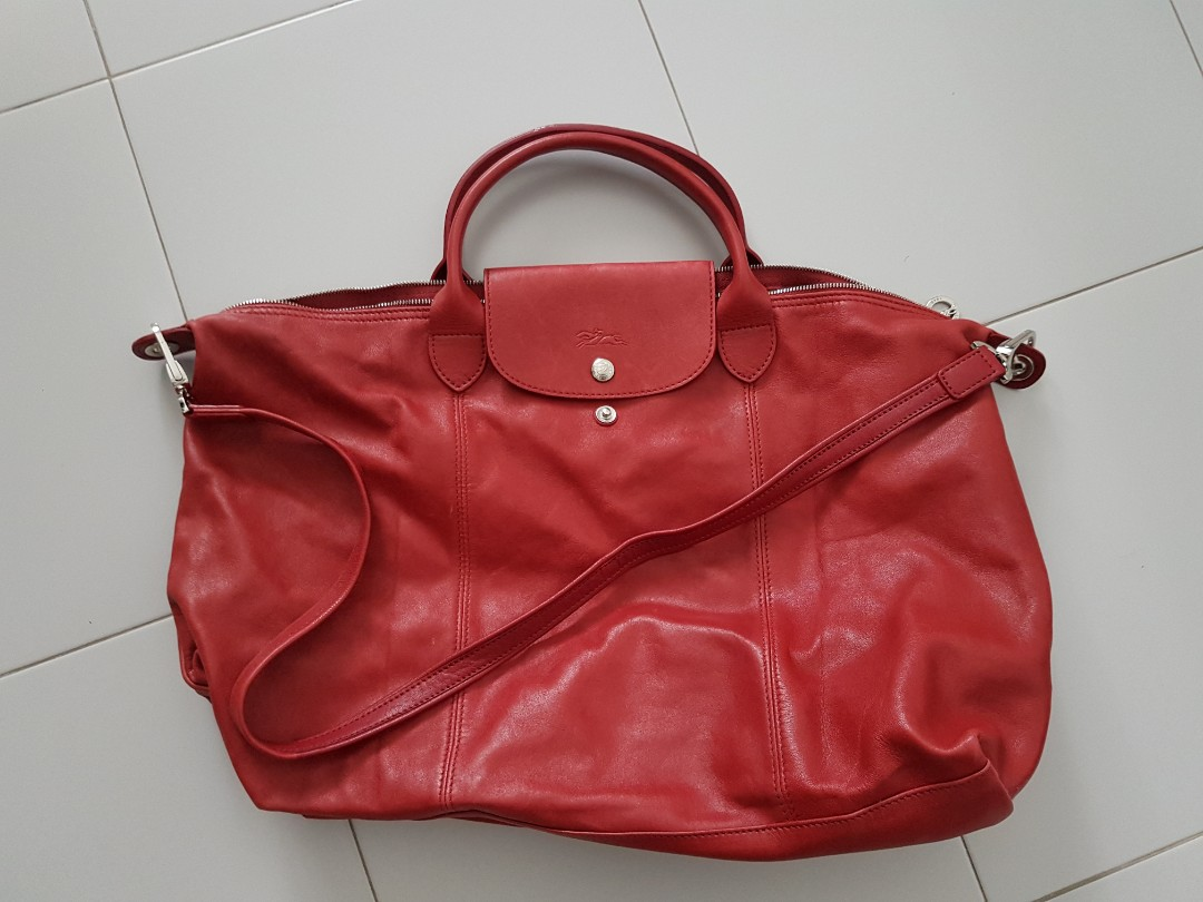 AUTHENTIC Longchamp Le Pliage Cuir Large leather bag cfc45fa081fa0