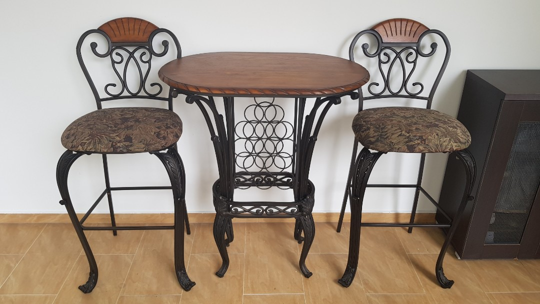Bistro Table Wine Rack Chair Set Furniture Tables Chairs On